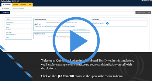 Click here to try Quinnipiac's Blackboard Course Test Drive