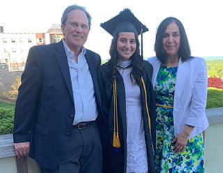 Kim Day, MAT '20 and her parents at Quinnipiac University graduation.