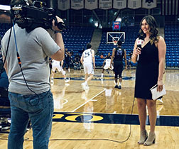 Robyn Brown, sideline reporting for the Quinnipiac University basketball game.