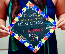 Sophie Connolly, BS in Health Science Studies, '19, Quinnipiac University, holds her inspirational graduation cap.