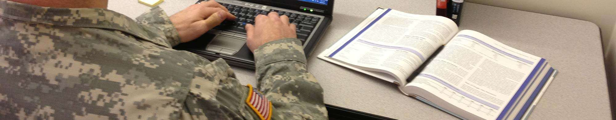 A student from the military using online learning to earn his degree