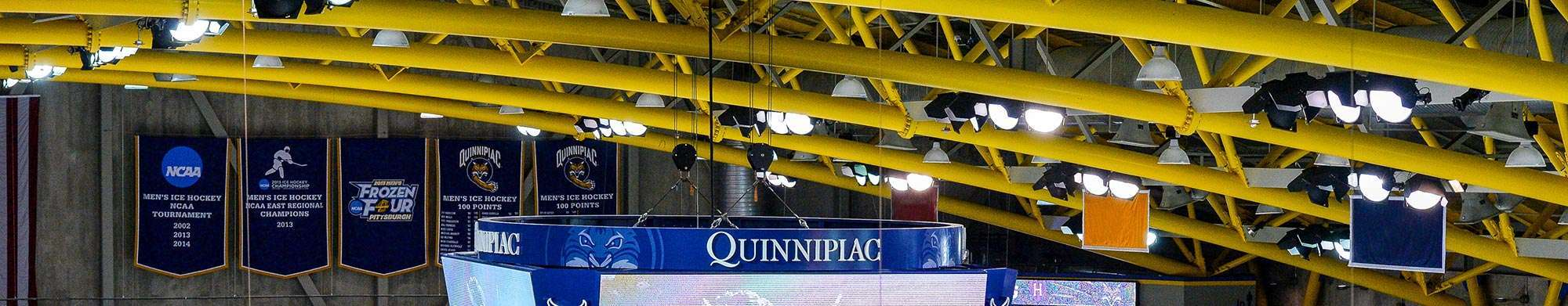 MS in sports journalism students covering a Quinnipiac University hockey game